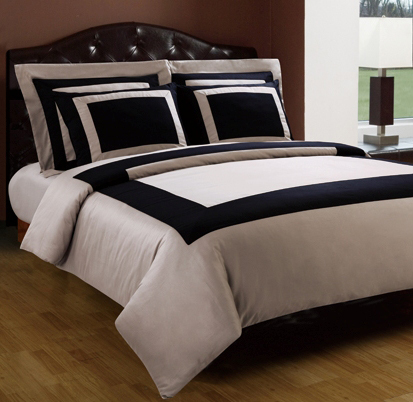 3 piece twin taupe and black 300 thread count egyptian