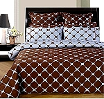 Western King Size Chocolate And Light Blue Bloomingdale 8 Piece Egyptian Cotton Duvet Cover And Sheet Set