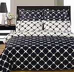 Western King Size Navy And White Bloomingdale 8 Piece Egyptian Cotton Duvet Cover And Sheet Set