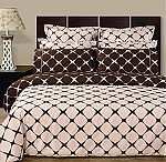 Western King Size Blush Pink And Chocolate Bloomingdale 8 Piece Egyptian Cotton Duvet Cover And Sheet Set