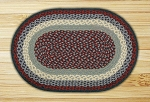Oval Blue and Burgundy Jute Braided Earth Rug�