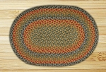 Oval Honey Mustard and Burgundy Jute Braided Earth Rug�