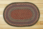 Oval Burgundy Blue and Gray Jute Braided Earth Rug�