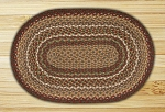 Oval Burgundy and Ivory Jute Braided Earth Rug�