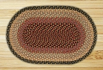 Oval Burgundy Gray and Creme Jute Braided Earth Rug®