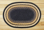 Oval Light Blue Dark Blue and Mustard Jute Braided Earth Rug®