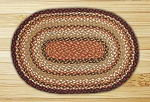 Oval Burgundy Mustard and Ivory Jute Braided Earth Rug®