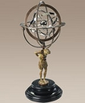 18th Century Atlas Armillary on Polished Granite Base