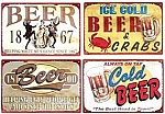 Assorted Beer Metal Signs Set of 4