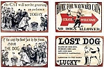 Dog and Cat Metal Signs Set of 4
