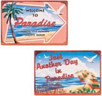 Paradise Beach Metal Signs Set of 2