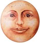 Moon Face Round Metal Sign