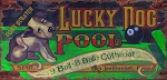 Lucky Dog Pool Hall Antiqued Wood Sign