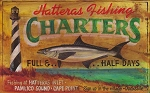 Hatteras Fishing Charters Antiqued Wood Sign