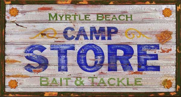 Personalized Myrtle Beach Camp Store Antiqued Wood Sign