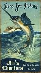 Deep Sea Fishing Marlin Antiqued Wood Sign