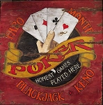 Faro and Poker Large Antiqued Wood Sign