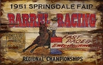 Barrel Racing Springdale Fair Rodeo Antiqued Wood Sign