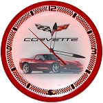 Corvette C6 Red Neon Clock