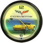 Corvette C6 Yellow Neon Clock