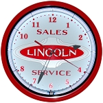 Lincoln Oval Red Neon Clock