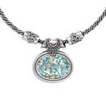 """18"""" Ancient Roman Glass Necklace With 3.3mm Wide Oxidized Sterling Silver Chain"""