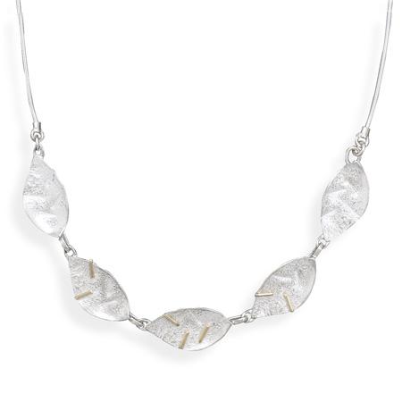14 Karat Gold and Sterling Silver Leave Design Necklace