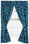 Blue Zebra Print Designer Window Curtains