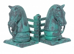 Horsehead Bookend Set With Verdigris Finish