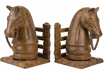 Horsehead Bookend Set With Rust Finish