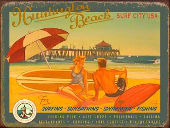 Huntington Beach Surf City Vintage Metal Sign