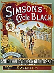 Simson's Cycle Black Vintage Tin Sign