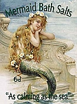Mermaid Bath Salts Vintage Tin Sign