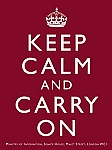 Keep Calm and Carry On Burgundy Metal Sign