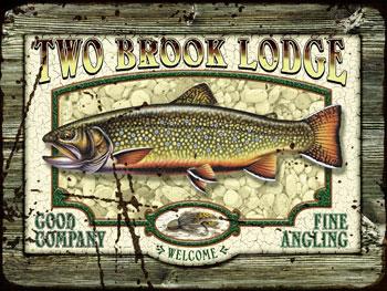Two brook lodge vintage metal sign for Vintage fishing signs