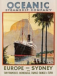 Oceanic Steamship Company Vintage Tin Sign