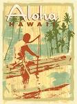 Aloha Hawaii Outrigger Vintage Metal Sign