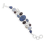 "Sterling Silver 8""+1""Extension Lapis, Amethyst, Agate, Chalcedony and Cultured Freshwater Pearl Toggle Bracelet"