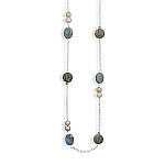 "Sterling Silver 34"" Cultured Freshwater Pearl and Multistone Necklace  With A FREE Set of Matching Earrings!"