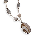 "Sterling Silver 16""+2""Extension Agate and Crystal Necklace With A FREE Set of Matching Earrings!"