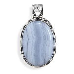 "Blue Lace Agate Pendant .925 Sterling Silver with FREE 18"" Rhodium Plated Light Rope Chain"