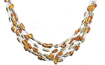 "20"" Graduated 8 Strand Amber Bead and Peridot Chip Necklace With A FREE Set of Matching Earrings!"