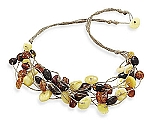 """17"""" 8 Strand Cord Necklace with Multicolor Baltic Amber With A FREE Set of Matching Earrings!"""