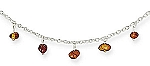 """17"""" Necklace with 11 Baltic Amber Nugget Charms With A FREE Set of Matching Earrings!"""