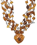 """21"""" 5 Strand Necklace with Baltic Amber and Aquamarine Chips and Amber Pendant With A FREE Set of Matching Earrings!"""