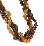 "17"" Three Strand Multicolor Baltic Amber Necklace"
