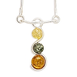 """17"""" Necklace with Yellow, Green and Cognac Baltic Amber With A FREE Set of Matching Earrings!"""