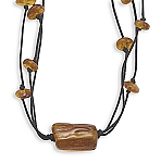 "18"" Triple Strand Black Cord Necklace with Baltic Amber Beads"