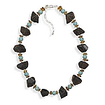 Smoky Quartz, Turquoise and Baltic Amber Necklace, .925 sterling silver with FREE earrings and FREE bracelet!