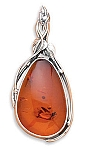 "Extra Large Baltic Amber Pendant with FREE 18"" Rhodium Plated Light Rope Chain"